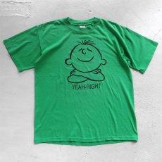 """画像1: 1990's """"YEAH-RIGHT"""" Print T-Shirt GREEN size M-L (1)"""