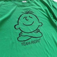 """画像2: 1990's """"YEAH-RIGHT"""" Print T-Shirt GREEN size M-L (2)"""