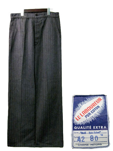 "画像1: 1960's French Cotton Stripe Work Trousers Dead Stock ""Salt and Pepper"" size w 33 inch (表記 42) (1)"