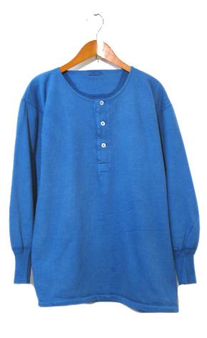 画像1: ~1960's Europe Cotton Pile Henley Neck Shirts Dead Stock Over-Dye Blue size M (表記 7) (1)