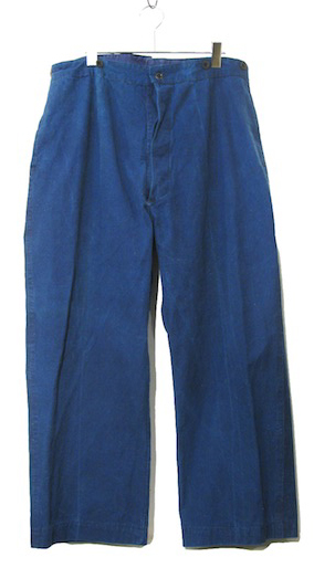 画像1: 1930-40's French Indigo Cotton Linen Trousers Indigo Blue size w 36 ~ 38 inch (1)