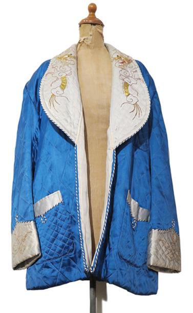 画像1: 1950's Souvenir Satin Gown BLUE / NATURAL size M-L (表記なし) (1)