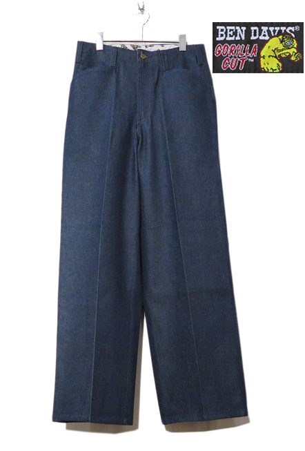 "画像2: BEN DAVIS  ""THE GORILLA CUT"" Wide Work Pants BLUE DENIM size w 30 / w 32"