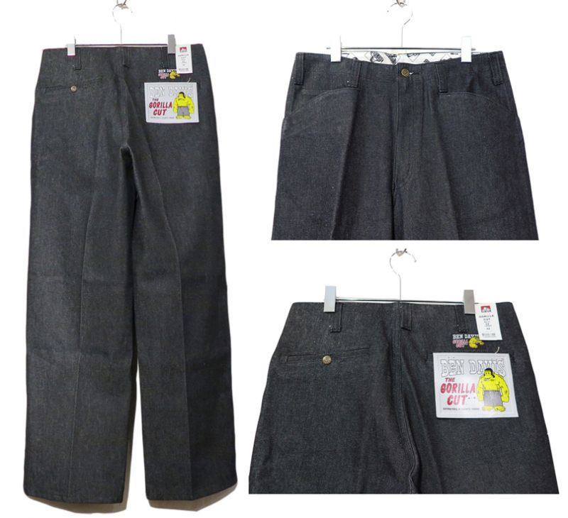 "画像3: BEN DAVIS  ""THE GORILLA CUT"" Wide Work Pants BLACK DENIM size w 30 / w 32"