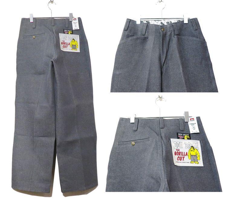 """画像3: BEN DAVIS  """"THE GORILLA CUT"""" Wide Work Pants GREY DENIM size w 30 / w 32"""