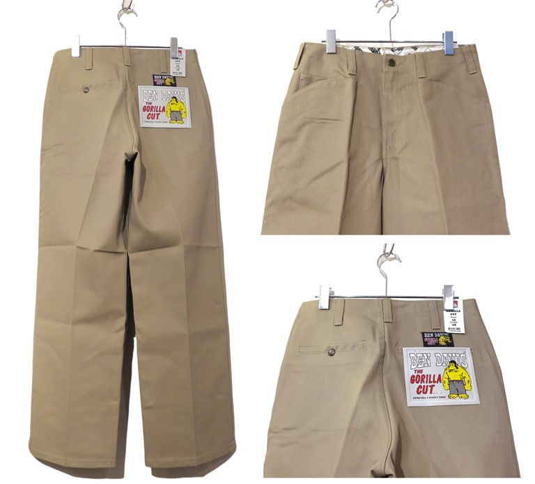 "画像3: BEN DAVIS  ""THE GORILLA CUT"" Wide Work Pants BEIGE size  w 30 / w 32"