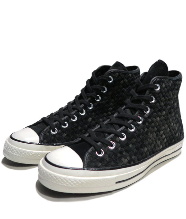 "画像1: NEW Converse ""First String"" Hi-Cut Suede Sneaker Black/Grey Woven size 8"