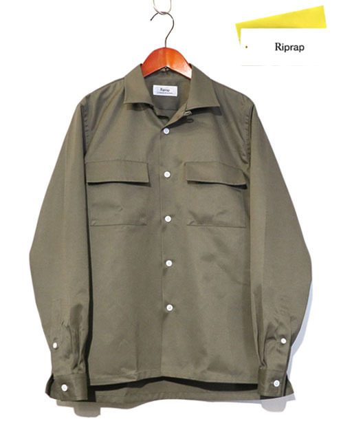 "画像1: Riprap ""STAND UP SEMI OPEN COLLAR SHIRTS""  color : CEMENT size : SMALL"