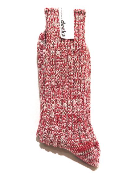 """画像1: decka quality socks """"HEAVY WAIGHT MIX SOCKS"""" made in JAPAN ONE SIZE color : RED (1)"""