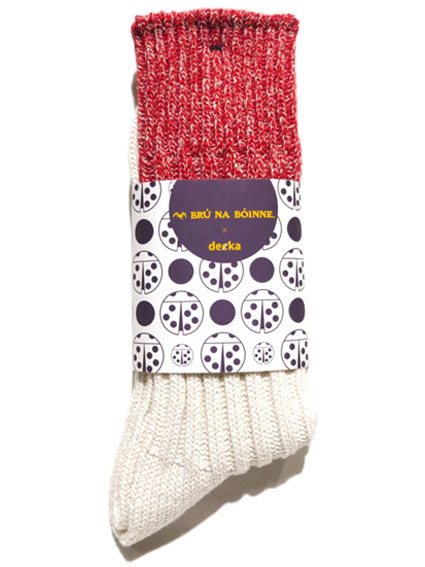 """画像1: BRU NA BOINNE×decka """"HEAVY SILK BICOLOR SOCKS"""" made in JAPAN ONE SIZE color : RED/WHITE"""