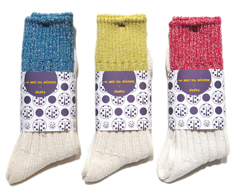 "画像5: BRU NA BOINNE×decka ""HEAVY SILK BICOLOR SOCKS"" made in JAPAN ONE SIZE color : YELLOW/WHITE"