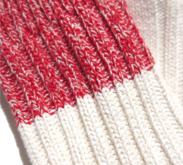"""画像4: BRU NA BOINNE×decka """"HEAVY SILK BICOLOR SOCKS"""" made in JAPAN ONE SIZE color : RED/WHITE"""
