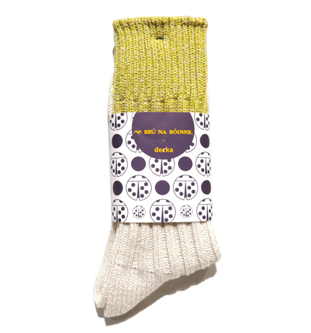 "画像2: BRU NA BOINNE×decka ""HEAVY SILK BICOLOR SOCKS"" made in JAPAN ONE SIZE color : YELLOW/WHITE"