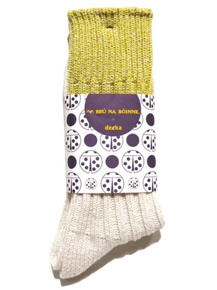 "画像1: BRU NA BOINNE×decka ""HEAVY SILK BICOLOR SOCKS"" made in JAPAN ONE SIZE color : YELLOW/WHITE"