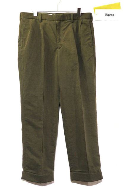 "画像1: Riprap ""TWO TUCK SLACKS"" color : OLIVE size : MEDIUM-R, LARGE-R"