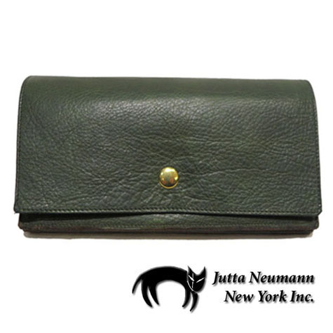 "画像1: ""JUTTA NEUMANN"" Leather Wallet ""the Waiter's Wallet""  color : Green / Lavender 長財布"