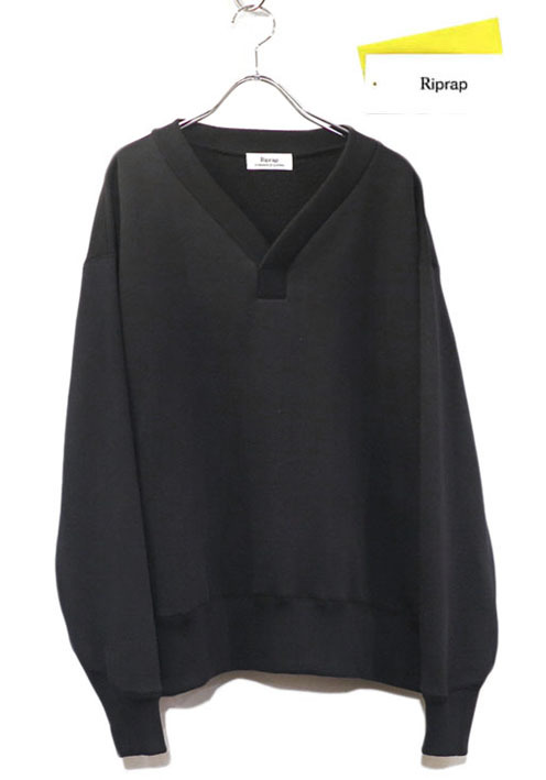 "画像1: Riprap ""Super Soft Loopwheel Y Neck Sweat Shirts""  color : BLACK"