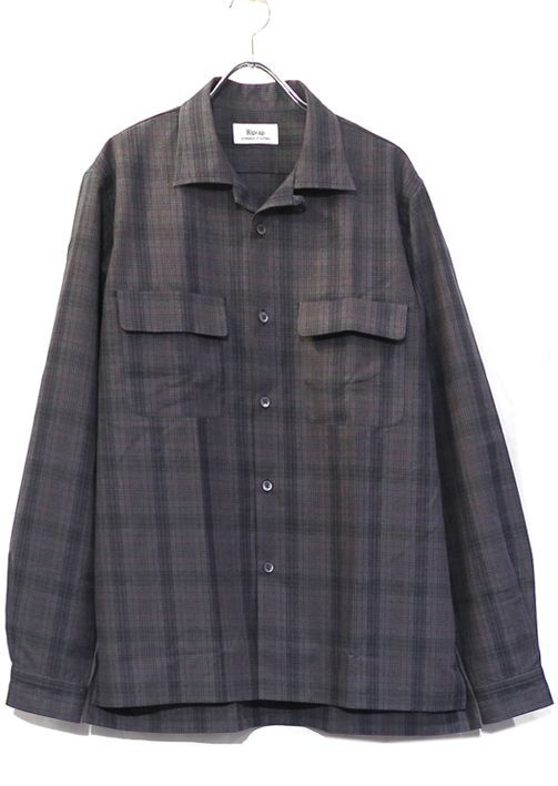 "画像1: Riprap ""Cotton Weather Tartan Check Semi Open Collar Shirt""  color : CHARCOAL/PURPLE size LARGE"