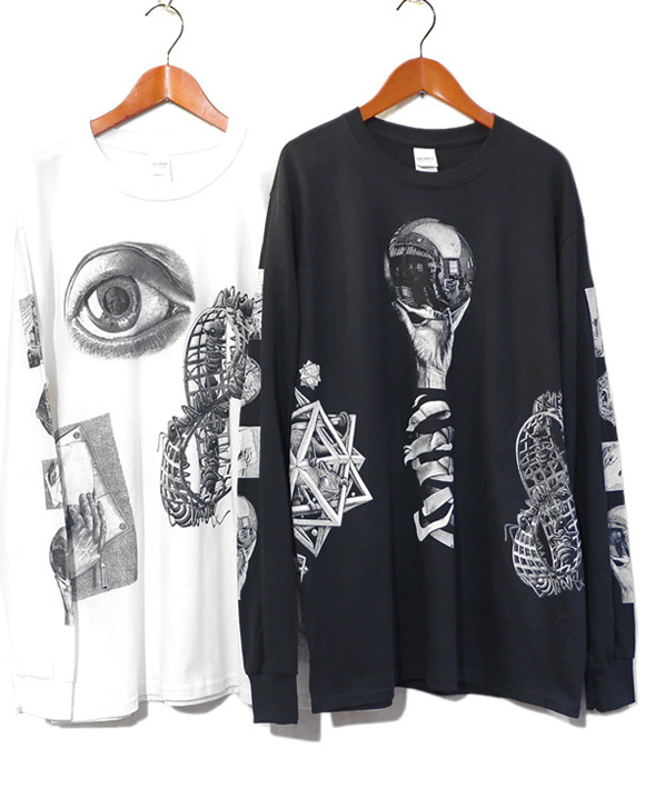 "画像1: NEW ""M.C. Escher"" Multi Print L/S T-Shirts color : WHITE, BLACK size S, M, L (1)"