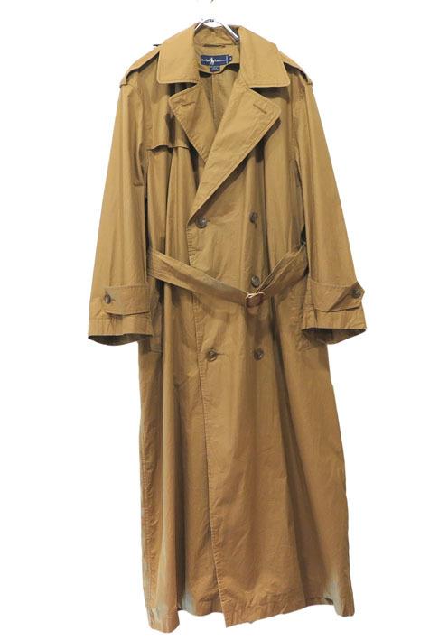 画像1: 1990's Ralph Lauren Typewriter Cotton Trench Coat color : LIGHT BROWN size MEDIUM 表記10 (1)
