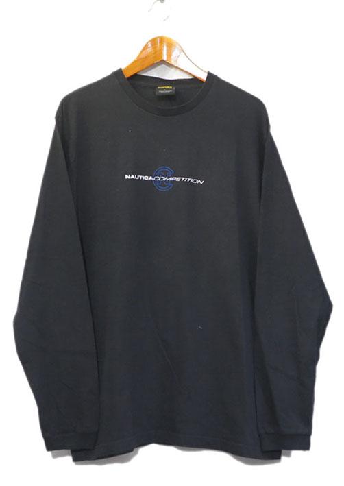 画像1: NAUTICA competition Logo Print L/S T-Shirt BLACK size L(表記L) (1)