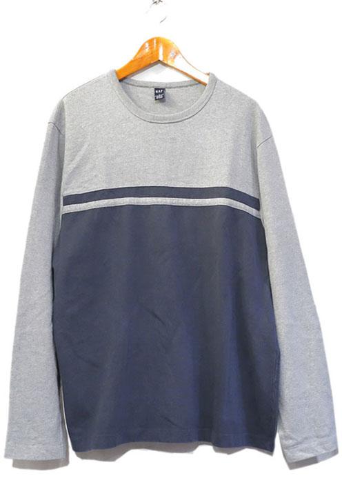 画像1: 1990's GAP Heavy Cotton 2-Tone L/S T-Shirt GREY/NAVY size L(表記L) (1)