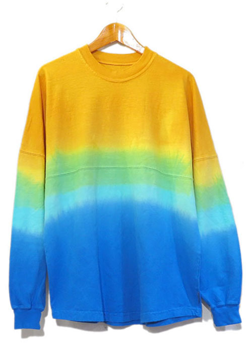 画像1: SPIRIT JERSEY Tie-Dye L/S T-Shirt YELLOW~BLUE size MEDIUM (表記M) (1)