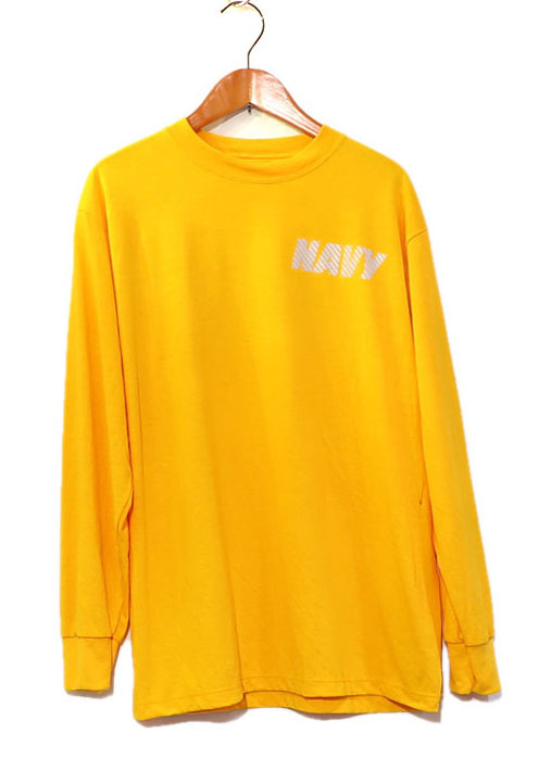 画像1: U.S. NAVY  L/S Training T-Shirt -Reflector Print- YELLOW size SMALL, MEDIUM (1)