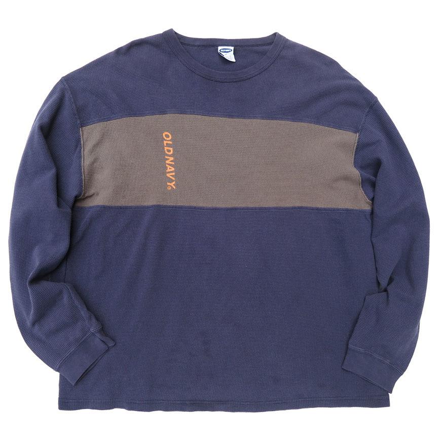 画像1: OLD NAVY  L/S Thermal T-Shirt NAVY/BROWN size L(表記XL) (1)