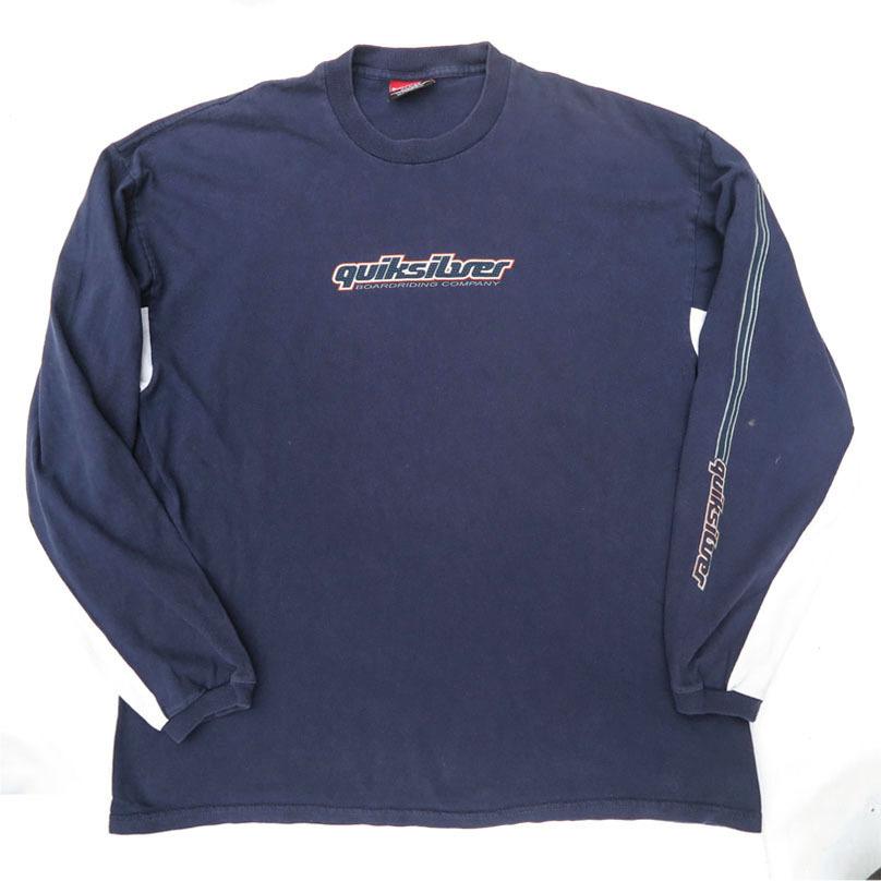 画像1: 1990's~ QUIKSILVER Logo Print L/S T-Shirt NAVY/L.GREY size L(表記XL) (1)