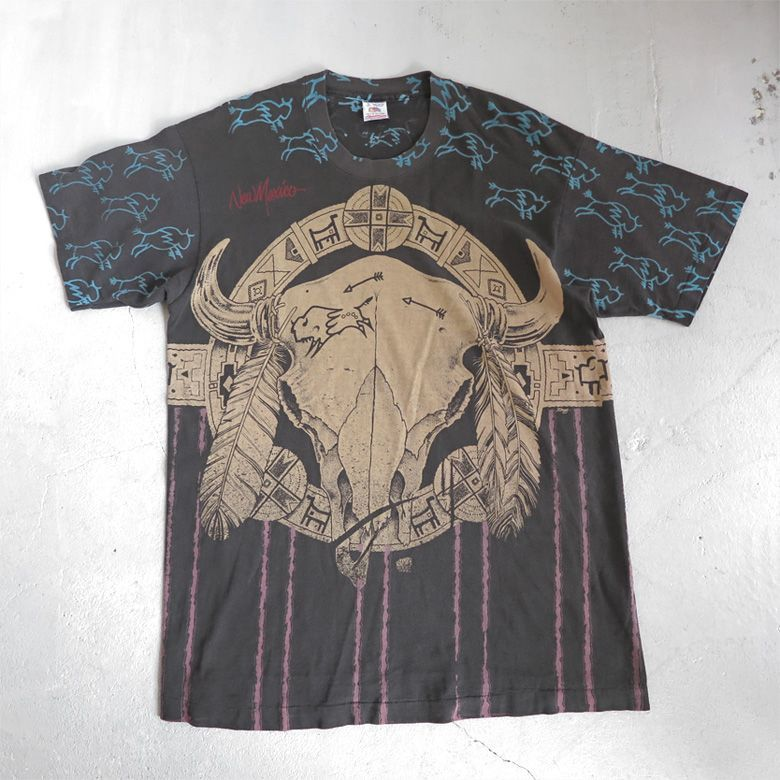 "画像1: 1990's ""New Mexico"" All Over Print T-Shirt BLACK size L (1)"