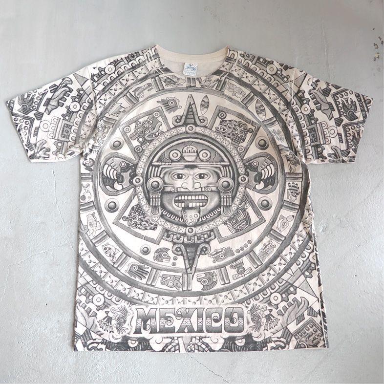 """画像1: YAZBEK """"MEXICO"""" All Over Print T-Shirt NATULAL size M-L (1)"""