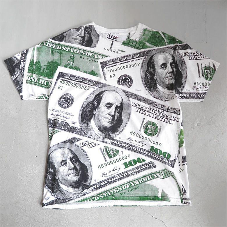 """画像1: Hanes """"100 DOLLARS"""" All Over Print T-Shirt WHITE size L (1)"""