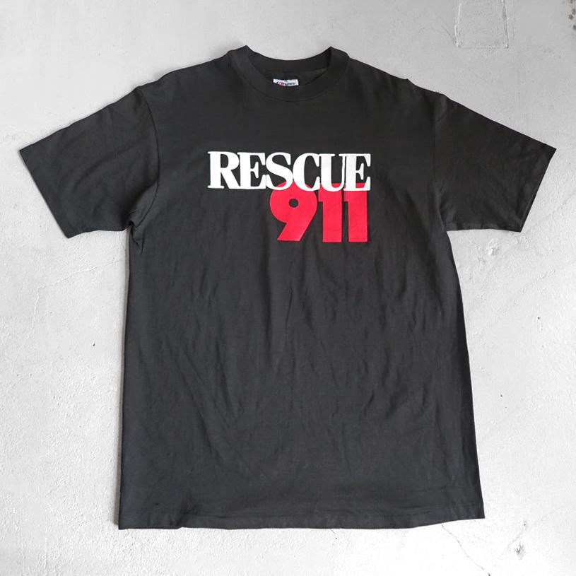 """画像1: 1990's """"RESCUE 911"""" Print T-Shirt BLACK size M (1)"""