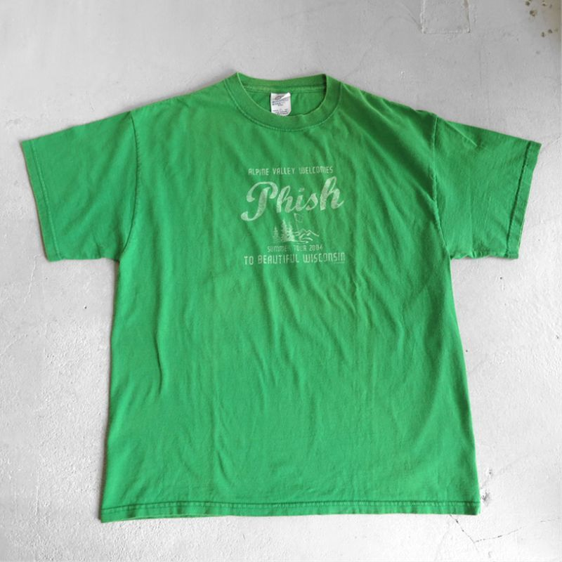 """画像1: 2000's """"PHISH"""" Tour Print T-Shirt GREEN size L (1)"""