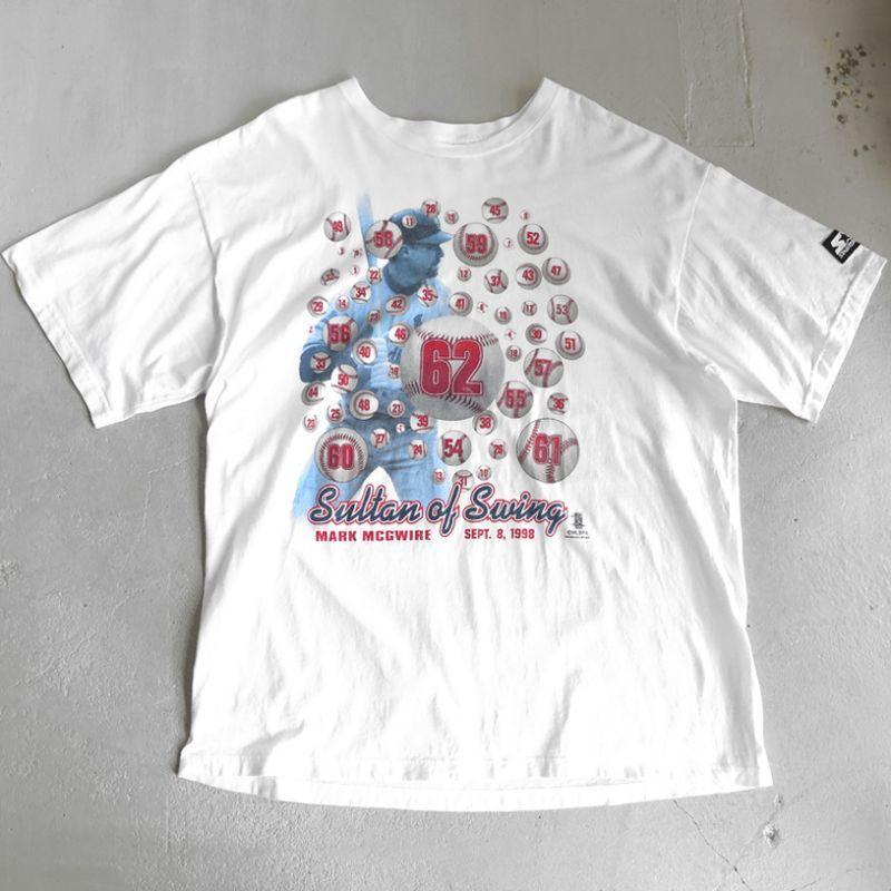 """画像1: 1990's STARTER """"MARK MCGWIRE"""" Print T-Shirt WHITE size XXL-XXXL (1)"""