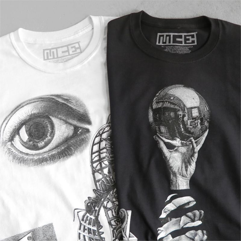 "画像1: NEW ""M.C. ESCHER"" Multi Print T-Shirts color : WHITE, BLACK size M, L, XL (1)"