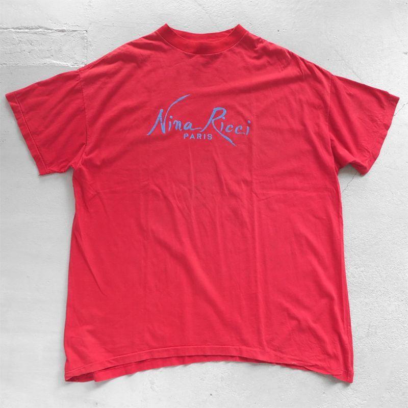 "画像1: ~1990's ""Nina Ricci"" Flock Print T-Shirt RED size XL (1)"