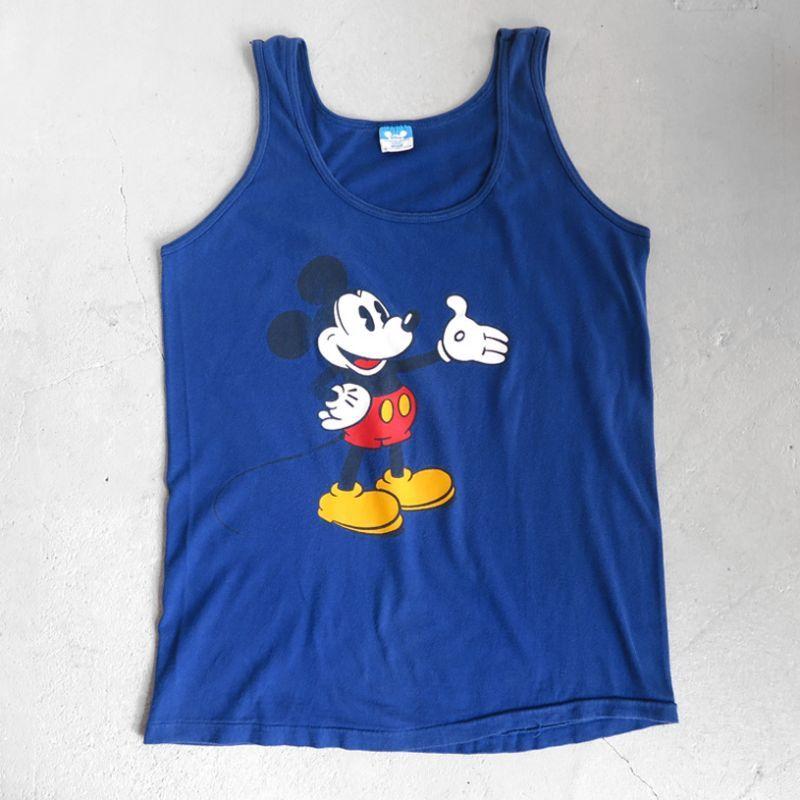 """画像1: 1980's DISNEY """"MICKEY"""" Print Tank Top BLUE size M (1)"""