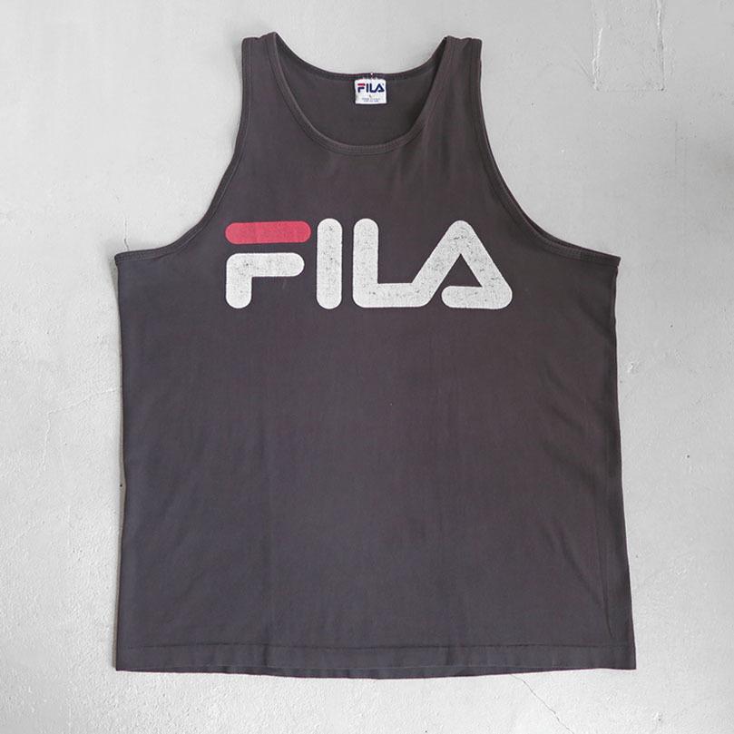 """画像1: 1990's """"FILA"""" Logo Print Tank Top BLACK size L (1)"""