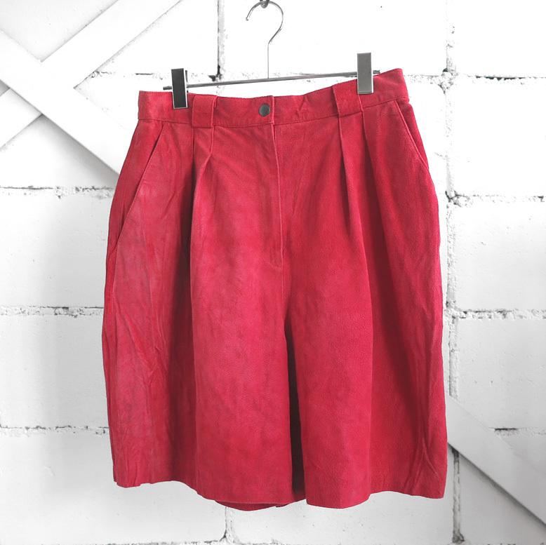 """画像1: 1980-90's """"WINLIT"""" Pig Suede Leather Tuck Shorts RED size W31INCH (1)"""