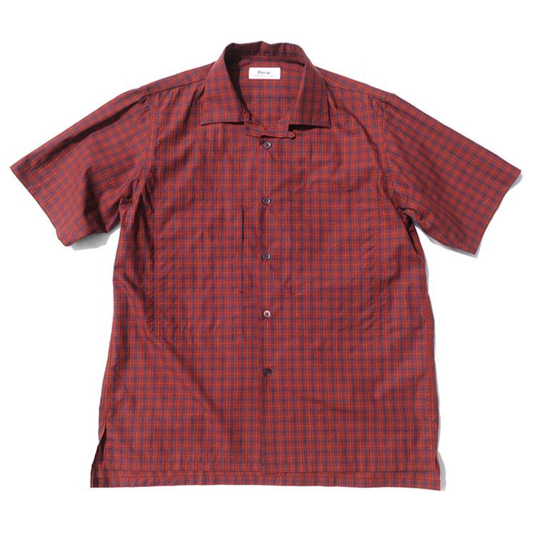 """画像1: Riprap """"S/S Semi Open Collar Shirt"""" -Plaid Broad-  color BROWN/RED size MEDIUM, LARGE, X-LARGE (1)"""
