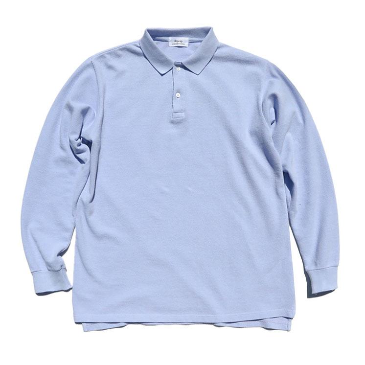 """画像1: Riprap """"L/S Polo Shirt"""" -Heavy Weight Moss- color SAX size MEDIUM, LARGE, X-LARGE (1)"""