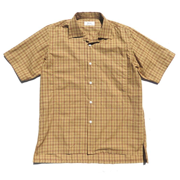 """画像1: Riprap """"S/S Semi Open Collar Shirt"""" -Plaid Broad-  color BEIGE/MINT size MEDIUM, LARGE, X-LARGE (1)"""