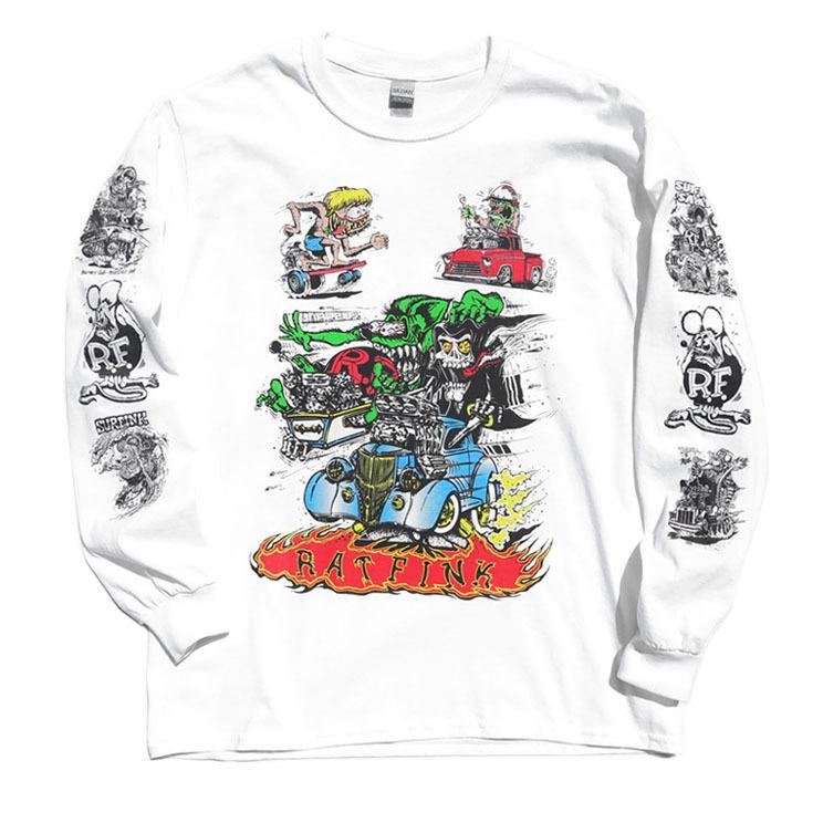 """画像1: NEW """"RAT FINK"""" Multi Print L/S T-Shirt WHITE size M, L, XL (1)"""