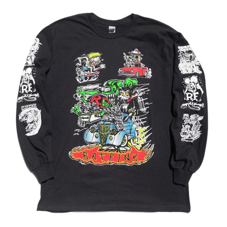 """画像1: NEW """"RAT FINK"""" Multi Print L/S T-Shirt BLACK size M, L, XL (1)"""