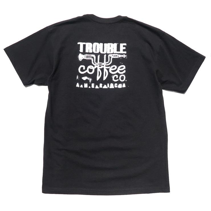 """画像1: NEW """"TROUBLE COFFEE"""" -SHOP LOGO- Back Print Pocket T-Shirt BLACK size L, XL (1)"""