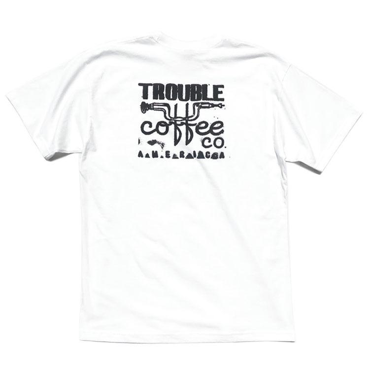 """画像1: NEW """"TROUBLE COFFEE"""" -SHOP LOGO- Back Print Pocket T-Shirt WHITE size L, XL (1)"""