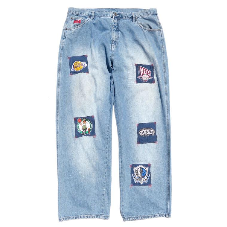 "画像1: 1990's ""unk"" -NBA- Logo Patch Baggy Denim Pants BLUE DENIM size  W43INCH (1)"