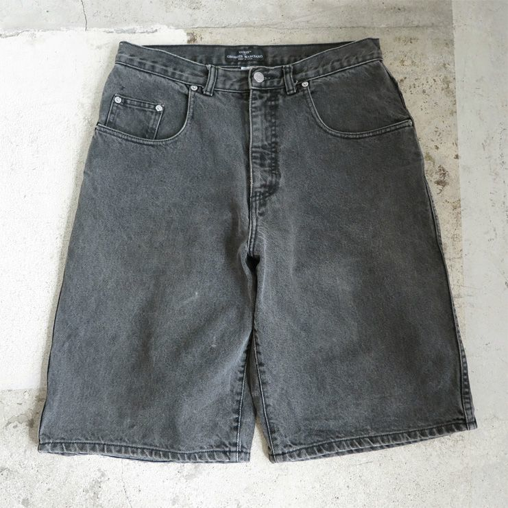 "画像1: 1990's ""GUESS"" Relaxed Fit Denim Shorts FADED BLACK DENIM size W31.5INCH (1)"